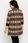 Tribal Print Open Front Cardigan