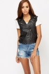Studded Faux Leather Gilet