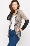 Striped Faux Leather Insert Cardigan