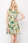 Cotton Blend Floral Print Dress