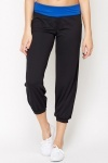 Contrast Waist Cropped Sports Trousers