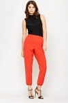 Elastic Hem Orange Tapered Trousers