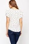White Bird Print Blouse
