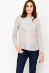 Pleated Front Ash Mesh Blouse