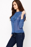 Pleated Front Blue Mesh Blouse