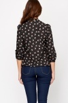 Tie Up To Hem Black Blouse