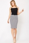 Polka Dot High Waisted Pencil Skirt