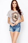 Framed Bird Print Crop Top