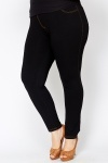 Dark Black Cotton Blend Jeggings