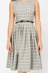 Check Contrast Skater Dress