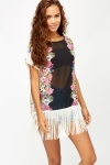 Floral Side Fringed Poncho