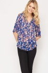 Zip Front Sheer Floral Top
