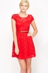 Lace Overlay Belted Skater Dress