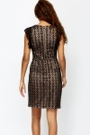 Lace Overlay Wrap Front Dress
