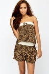 Crochet Trim Leopard Bandeau Dress