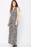 Low Crop Animal Print Maxi Dress