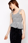 Striped Asymmetric Peplum Top