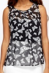Shirred Butterfly Print Top