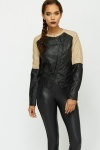 Contrast Faux Leather Biker Jacket