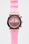Diamante Rubber Strap Round Dial Watch