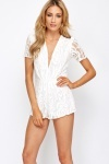 Petite Plunge Neck White Lace Playsuit