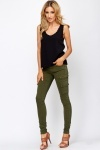 Olive Pocket Side Skinny Jeans
