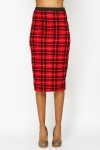 Red Check Pencil Skirt