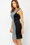 Drop Back Houndstooth Panel Dress