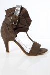 Cowboy Cuff T-Bar Suede Effect Sandals