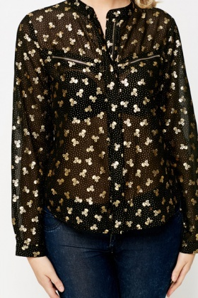 Metallic Dotted Zip Front Blouse