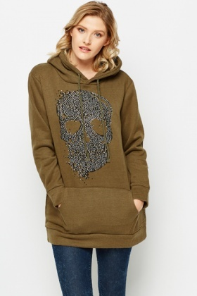 Encrusted Skull Hooded Sweatshirt