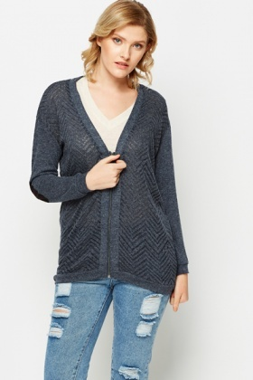 Contrast Elbow Patch Zip Front Cardigan