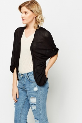 Batwing Buttoned Imitation Sleeve Cardigan