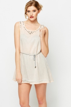 Pearl Embellished Metallic Overlay Swing Top