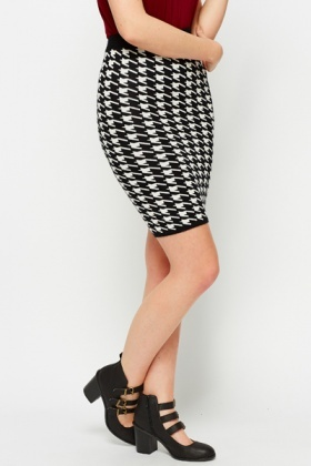 Houndstooth Bodycon Skirt