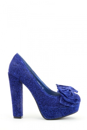 Glitter Bow Platform Shoes