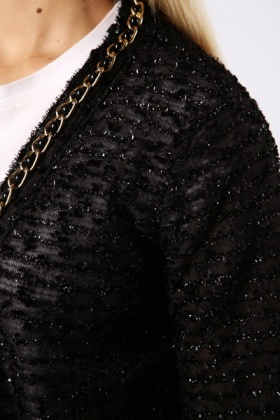 Chain Embellished Metallic Cardigan