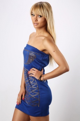 Stud Embellished Bandeau Tunic Dress