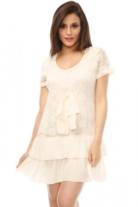 Lace Tiered Hem Shift Dress