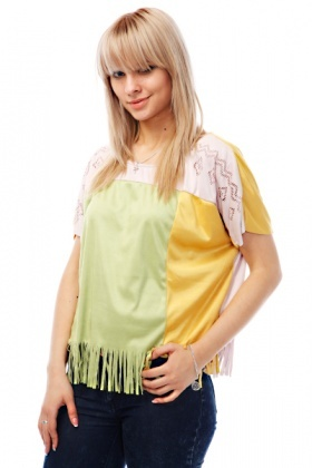Block Colour Fringed Suedette Top