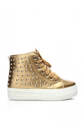 Studded Faux Leather Flatform Trainers