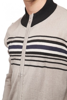 Descending Stripe Zip Front Cardigan