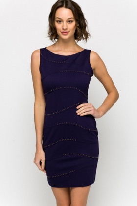 Encrusted Wave Trim Bodycon Dress