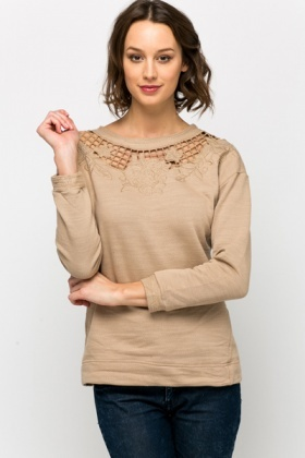 Encrusted Cut-Out Neckline Sweater