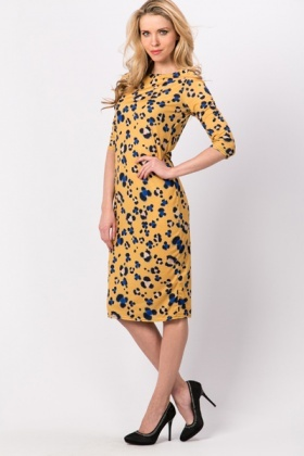 Smudged Flower Midi Dress