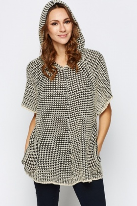 Knit Print Hooded Batwing Top