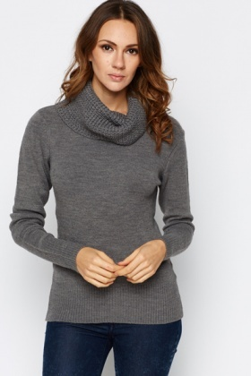 Ribbed Cowl Neck Jumper