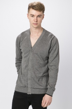 Ribbed Trim Button Front Cardigan