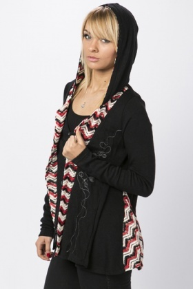 Contrast Lapel Embroidered Cardigan