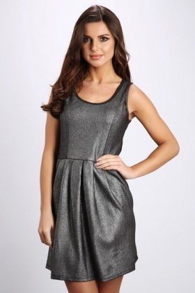 Zip Back Metallic Skater Dress